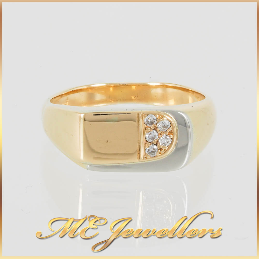 1053 Two Toned Gold Mens Ring With Diamond 5