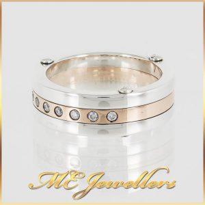 Mens Diamond Dress Ring Sterling Silver 9K Yellow Gold
