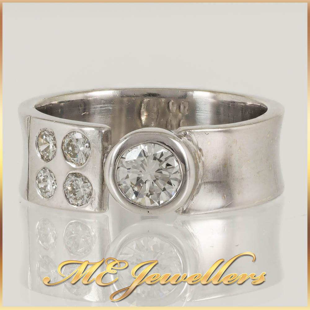 Thick White Gold 5 Stone Diamond Ring