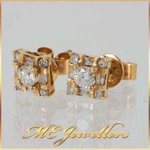 18K Yellow Gold Diamond Square Stud Earrings