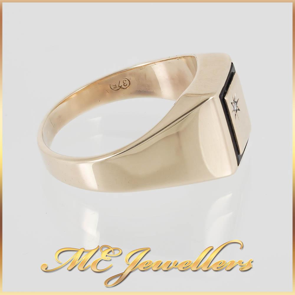 2574 Mens Yellow Gold Dress Ring 9K 3