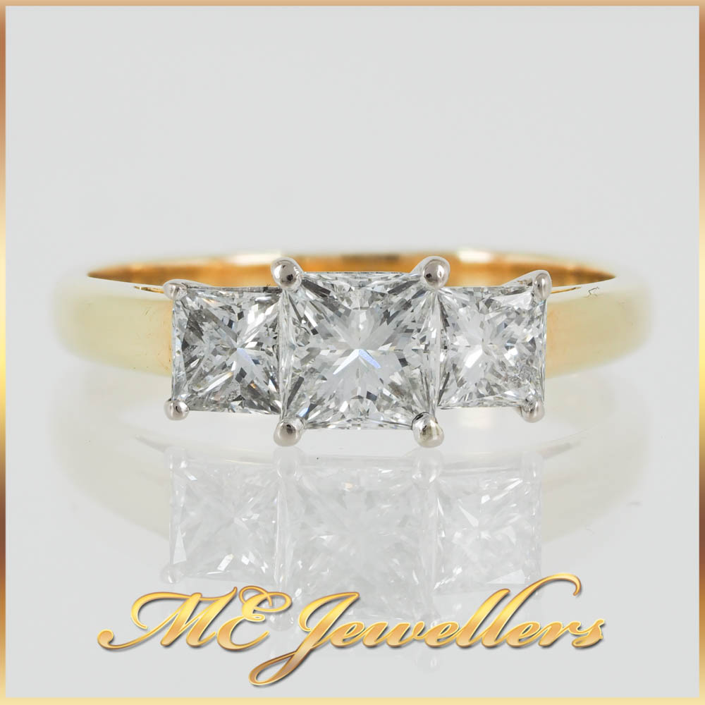 Three Stone Princess Diamond Gold Ring