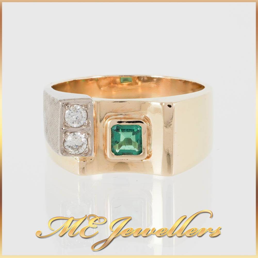 2779 18K Gold Mens Dress Ring Green CZ and Diamonds 1