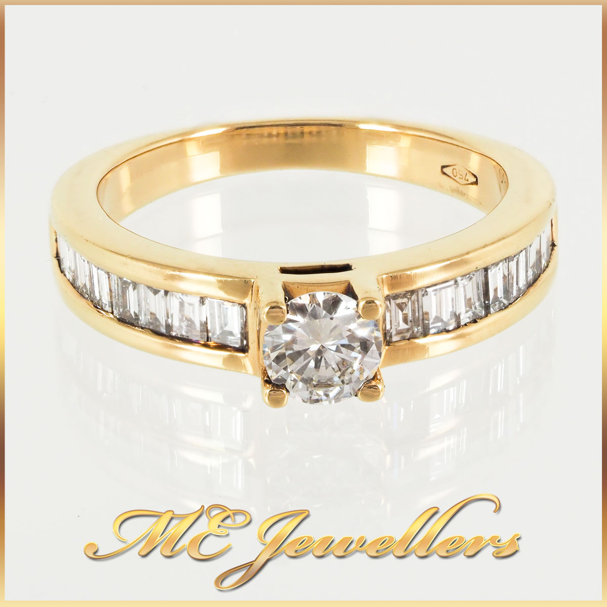 3523-Side Accent Engagement Ring 0.77ct TDW 18K YG 1