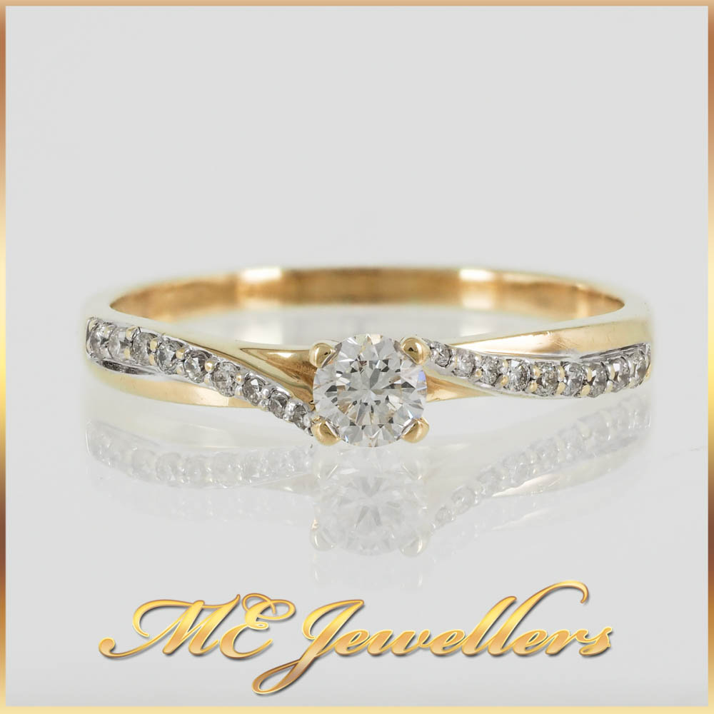 Twisted Yellow Gold Diamond Engagement Ring