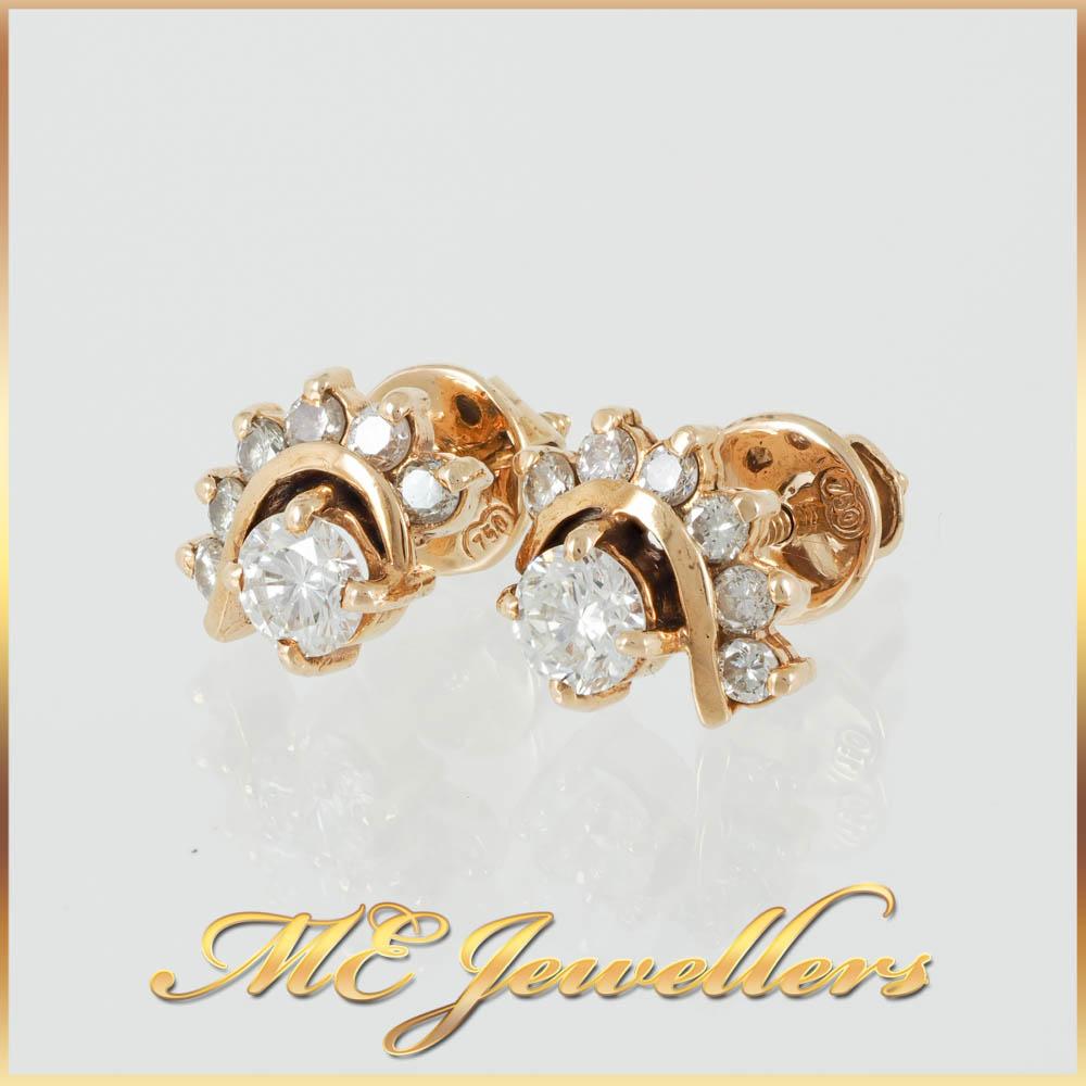 0.37ct Round Brilliant Cut Tribal Style Diamond Earrings
