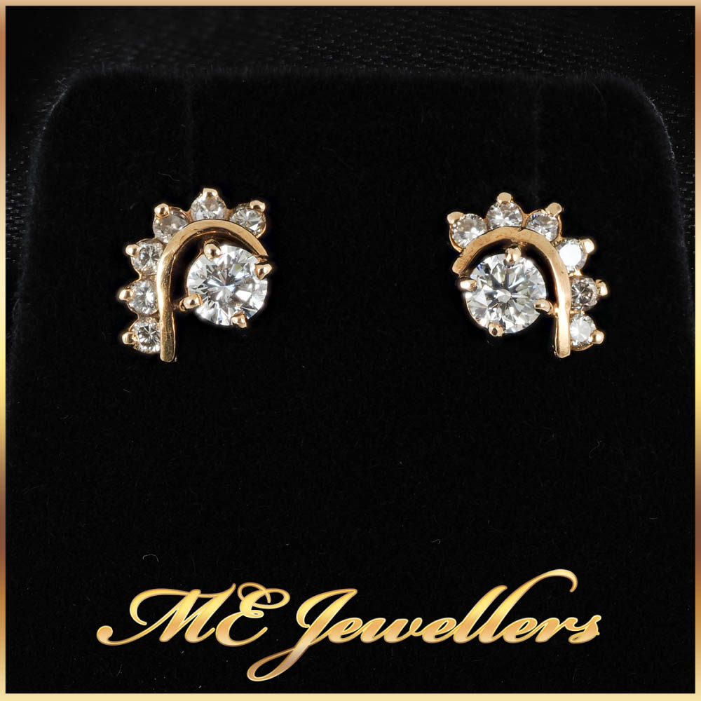 0.37ct Round Brilliant Cut Tribal Style Diamond Earrings