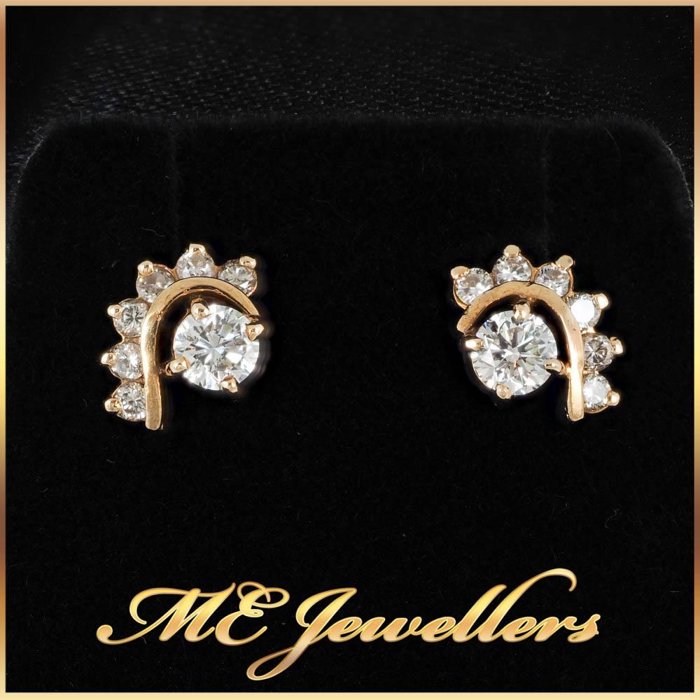 0.74 Tcw Round Cut Tribal Style Diamond Earrings