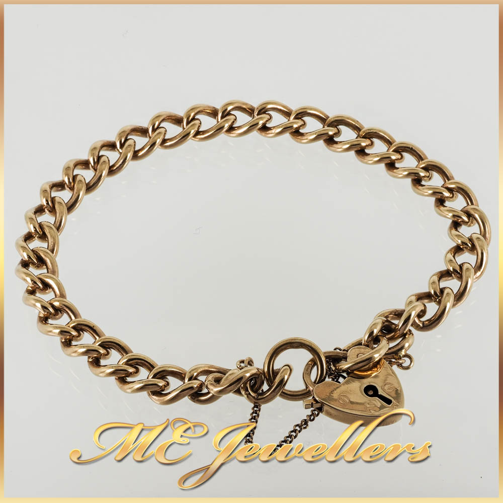Rounded Curb Style Heart Padlock Bracelet