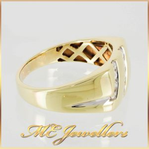 Diamond Mens Dress Ring 9K Yellow Gold