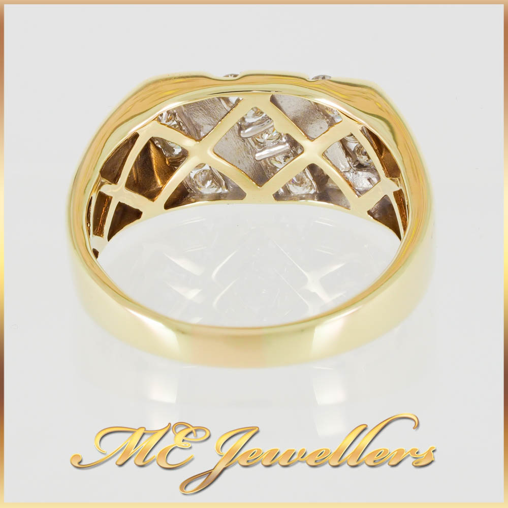 4645 Diamond Mens Dress Ring 9K Yellow Gold 2