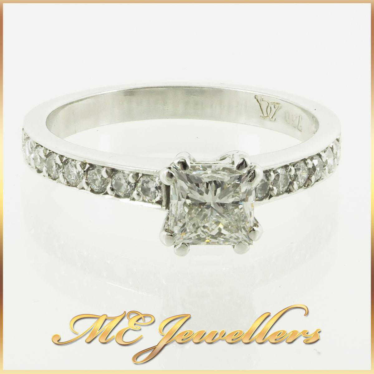 GIA Square Modified Brilliant Cut Diamond Engagement Ring 18K White Gold Sz 5