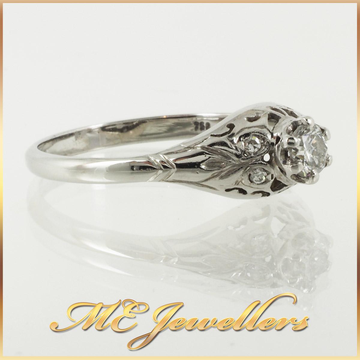 6736_ Vintage style diamond ring 18K white gold 2