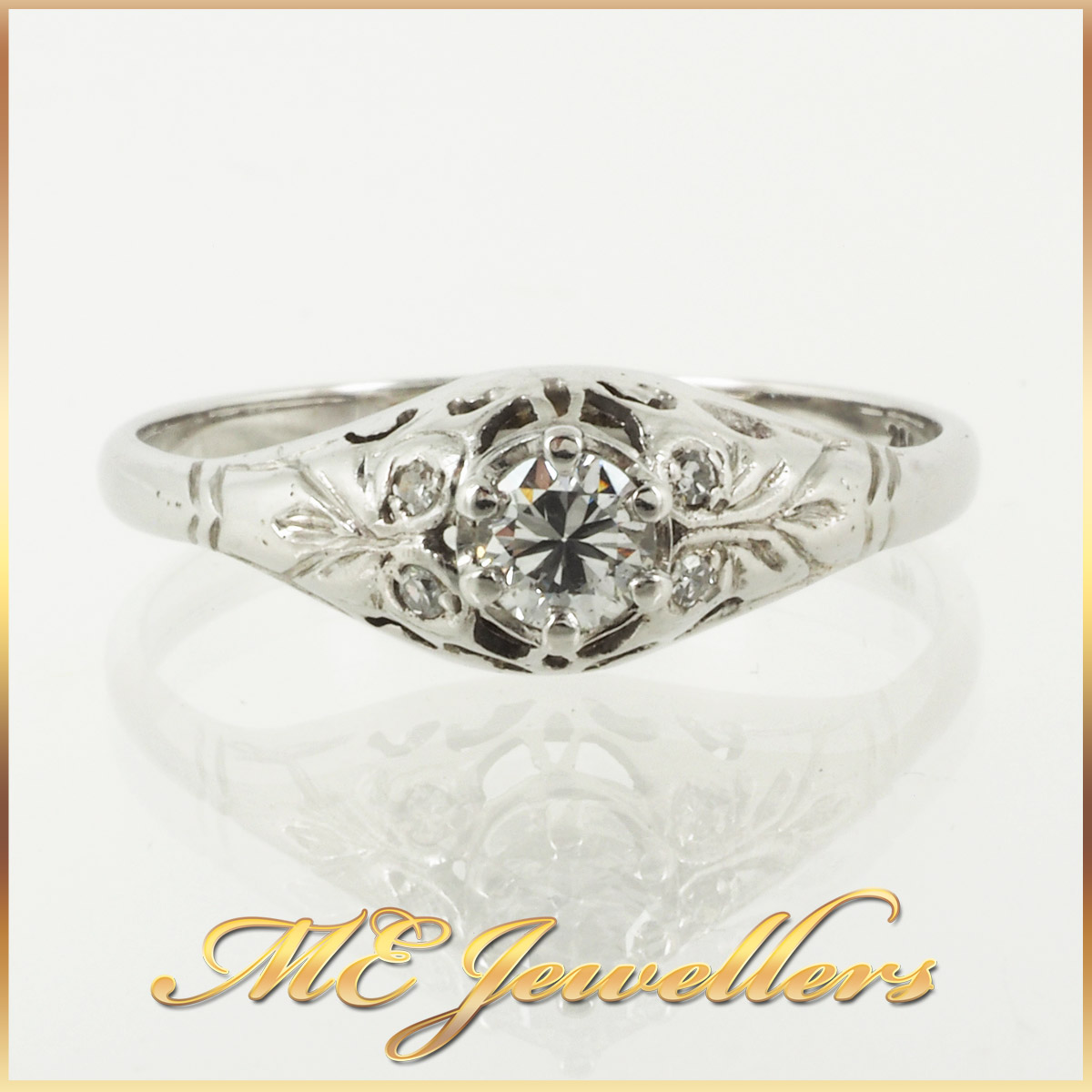 6736_ Vintage style diamond ring 18K white gold 1
