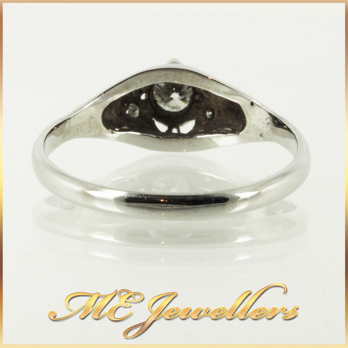 6736_ Vintage style diamond ring 18K white gold 4
