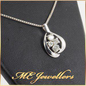 Diamond Pendant 18K White Gold With Neck chain