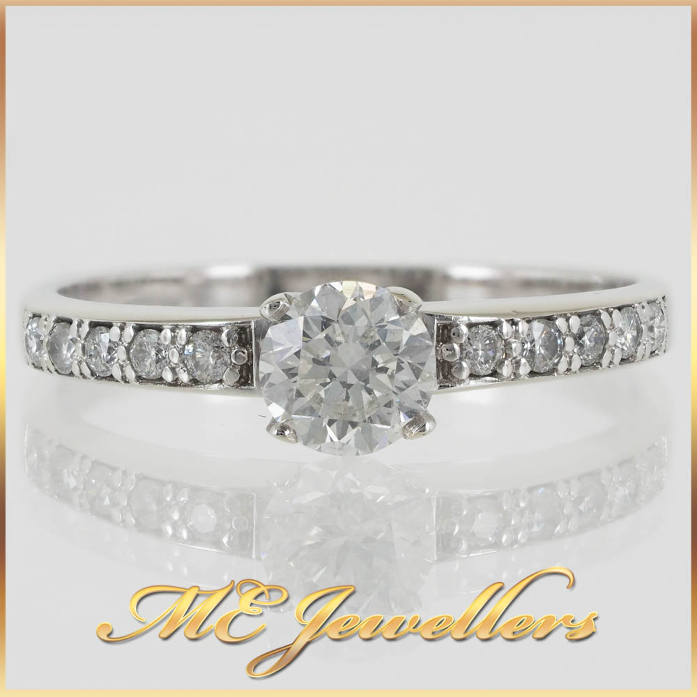 Round Brilliant Diamond White Gold Engagement Ring