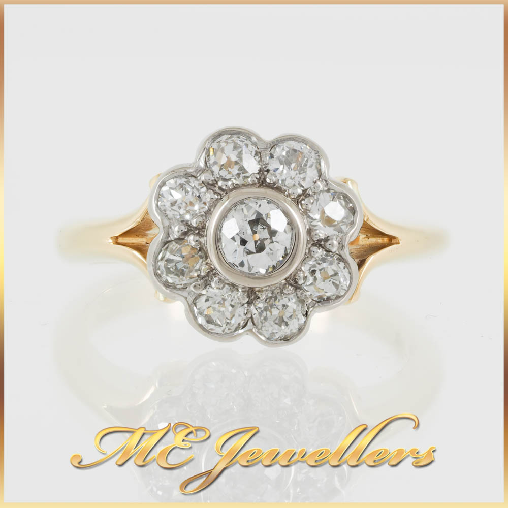 Rose Cut Diamond Flower 18K Yellow Gold Ring