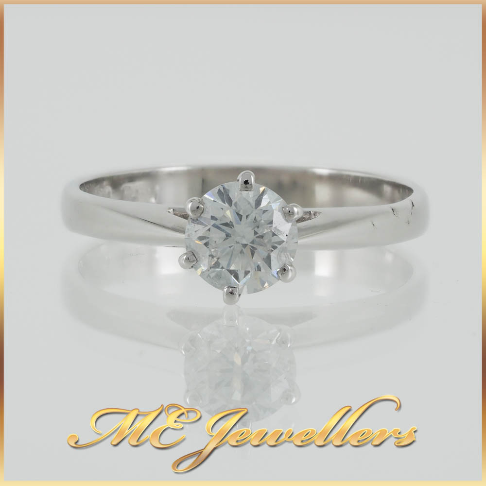 18k White Gold 6 prong Solitaire Diamond Ring