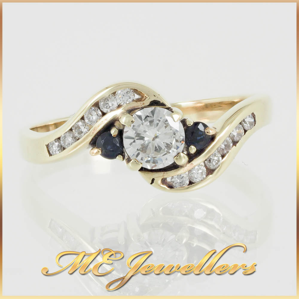 14k Three Stone Diamond Sapphire Accent Ring