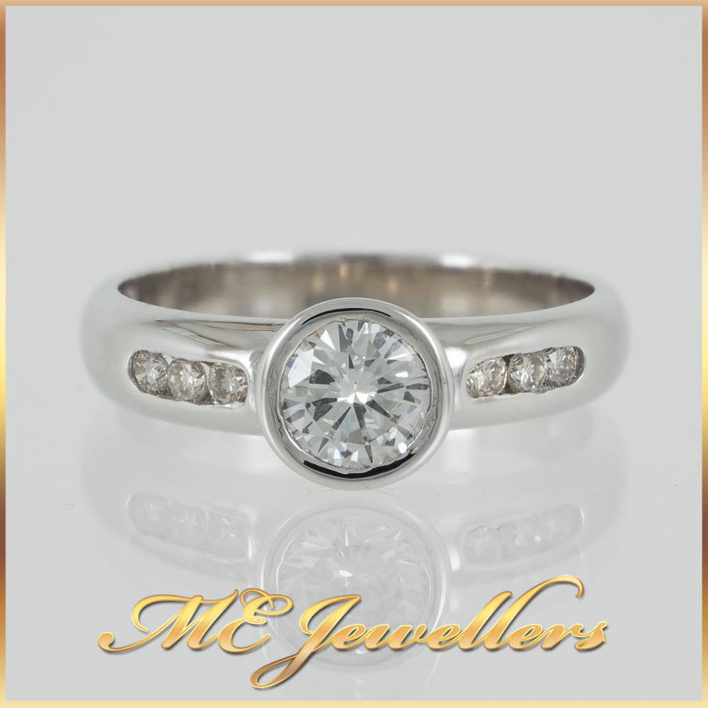 18k Bezel Solitaire Accent Ring