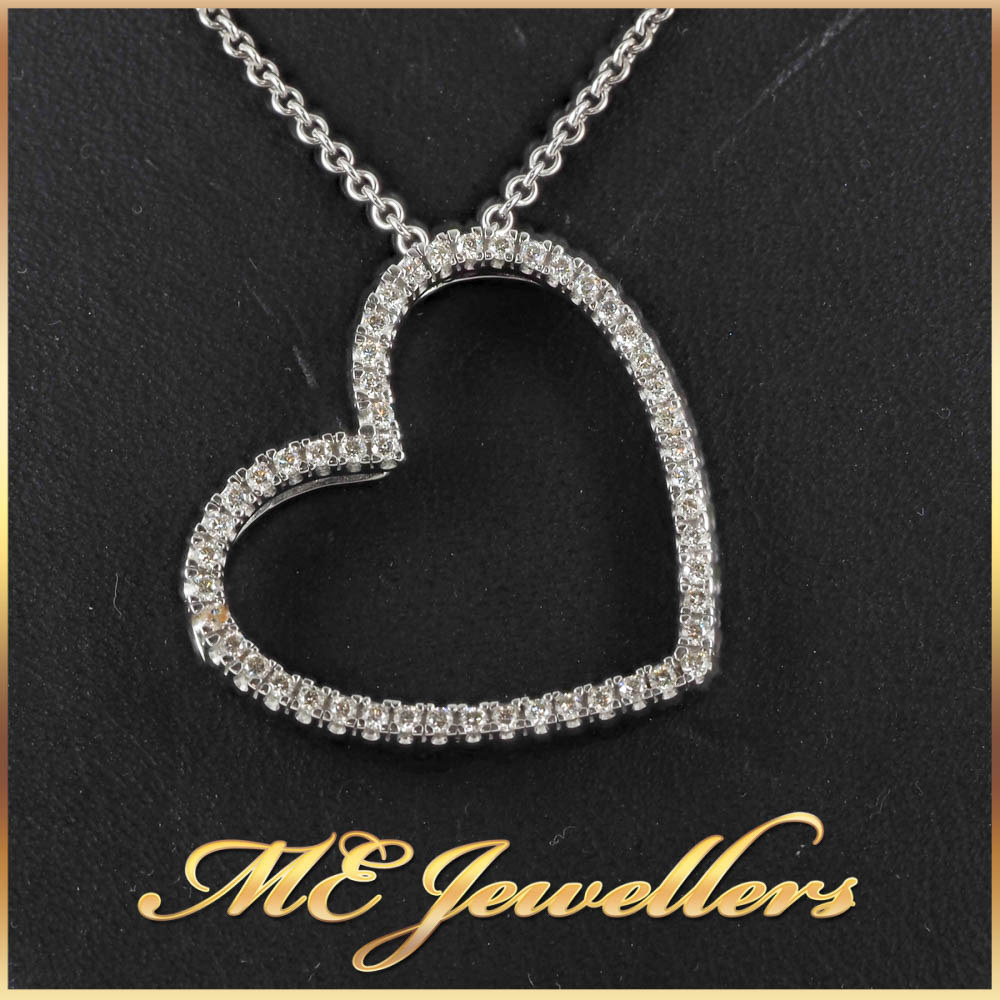 18K White Gold Diamond Heart Necklace