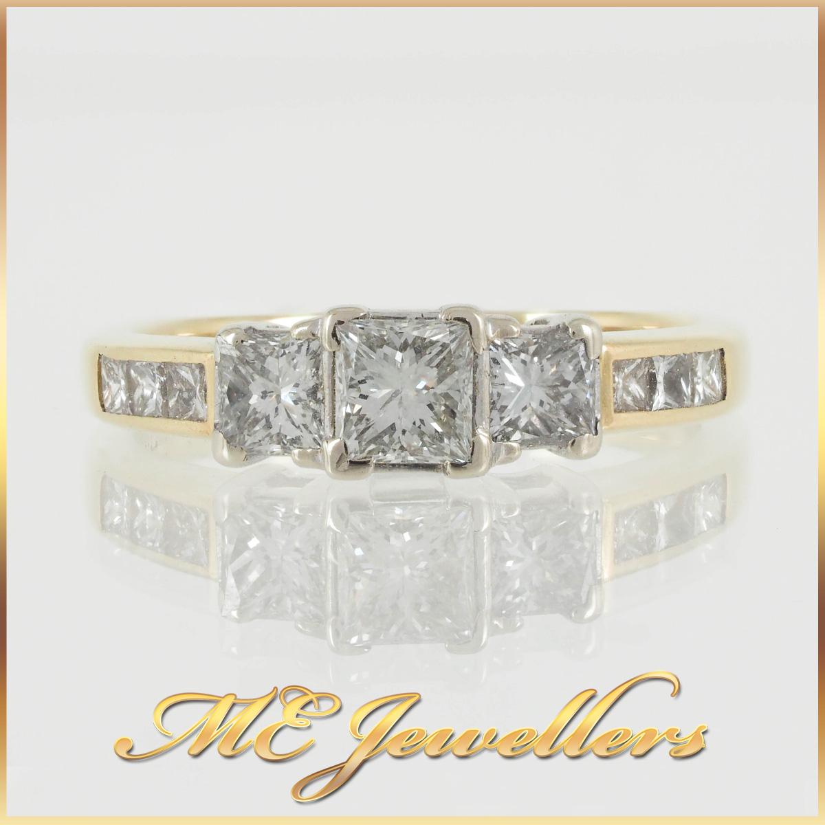18k Three Stone Princess Cut Diamond Accent Ring