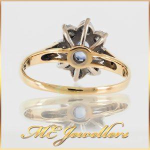 18k Gold Sapphire Diamond Flower Cluster Ring