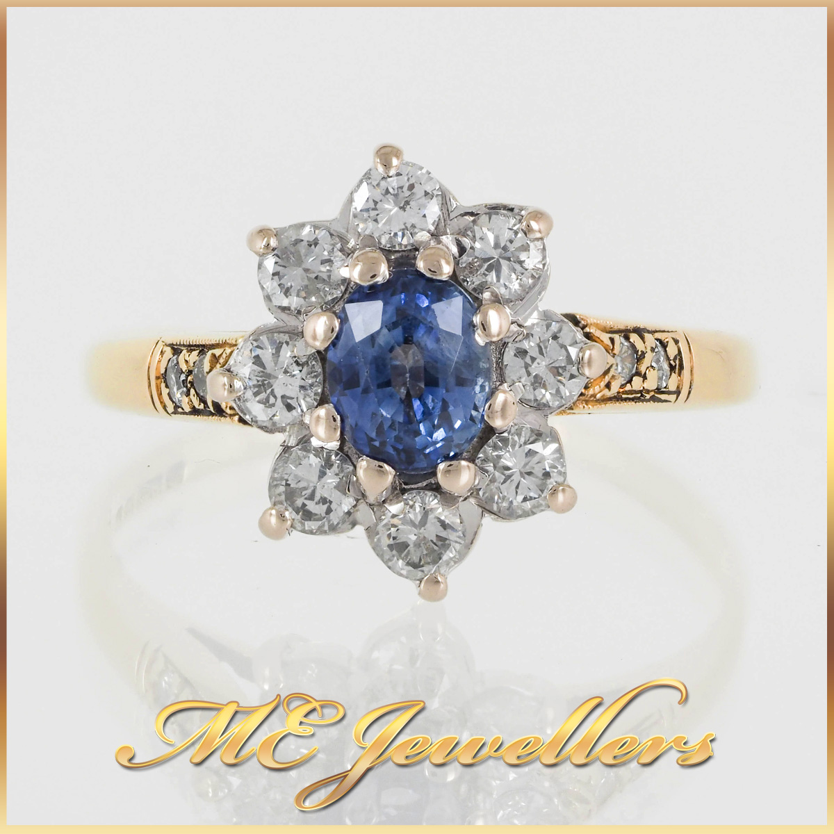 18k Gold Sapphire Diamond Flower Cluster Ring