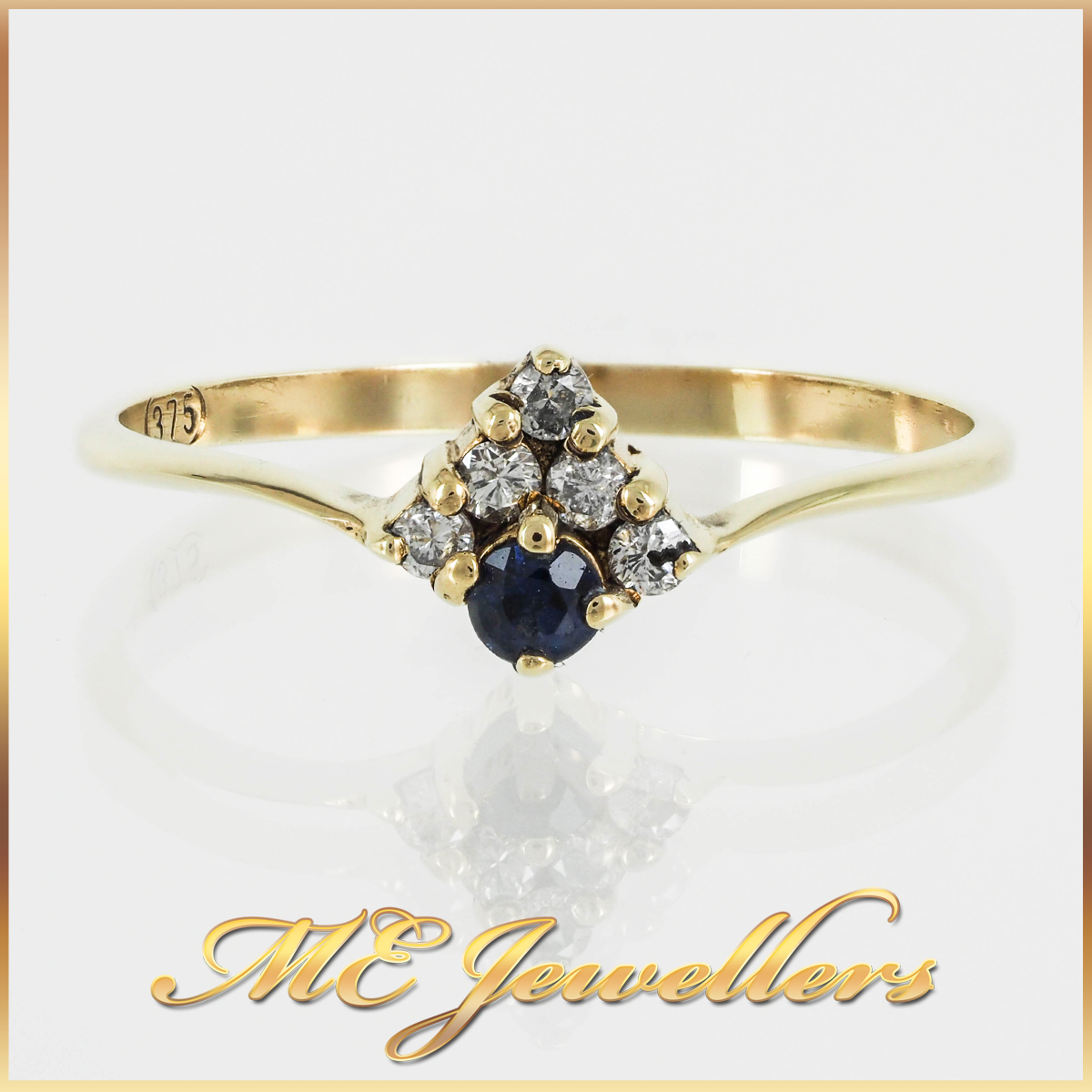 Petite 9k Vintage Sapphire Cluster Ring