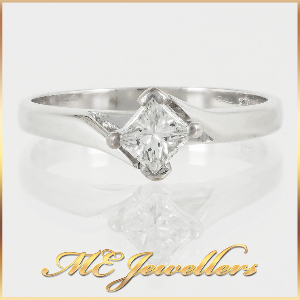 18k Tension Set Round Solitaire Ring