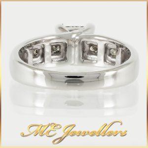 18k White Gold Princess cut Diamond Quad Cluster Ring