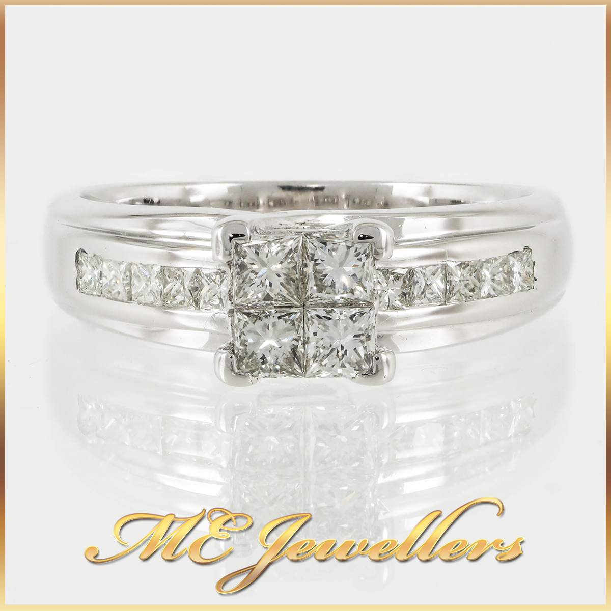 18k White Gold Princess cut Diamond Quad Cluster Ring