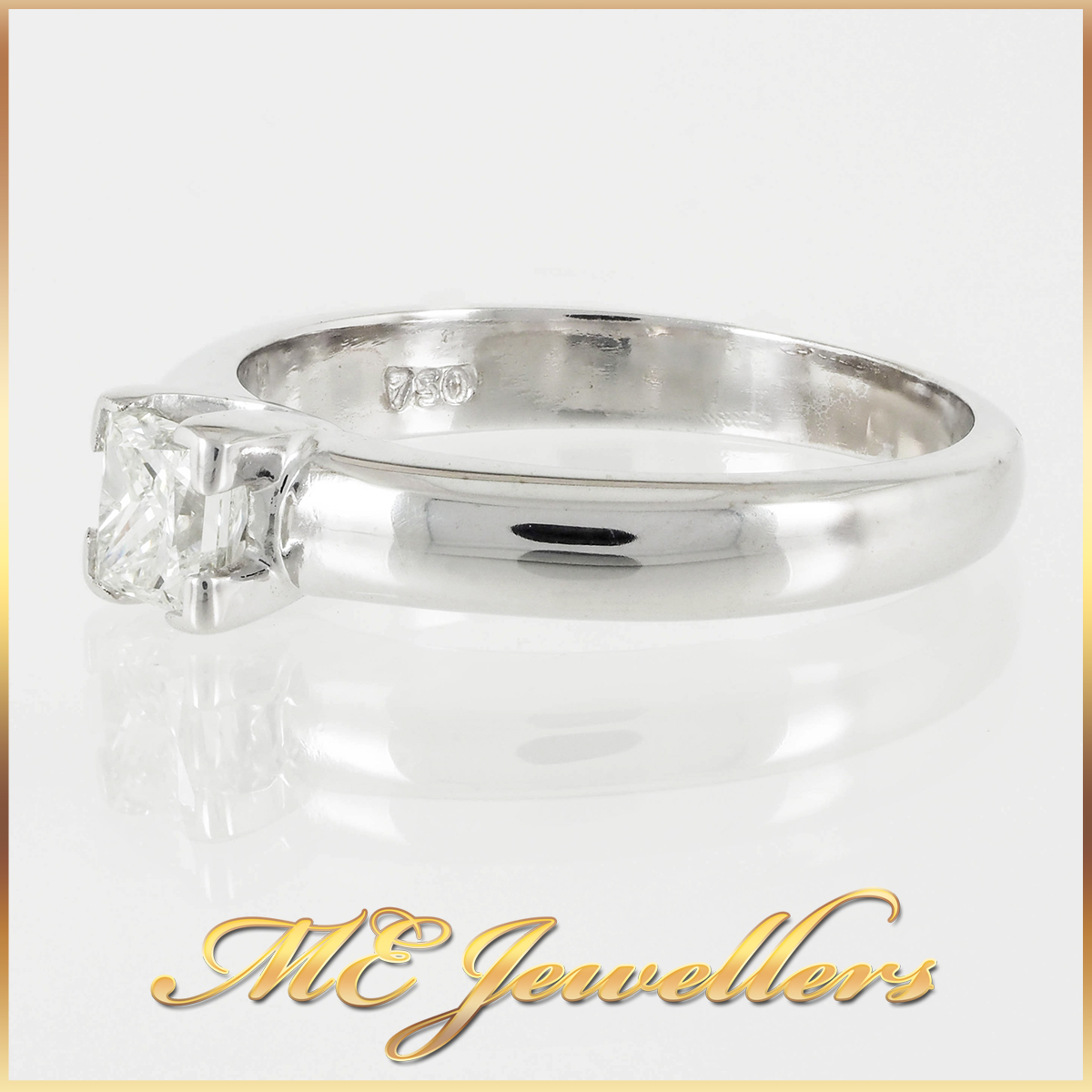 Princess Cut 0.35cts Solitaire Diamond Engagement Ring