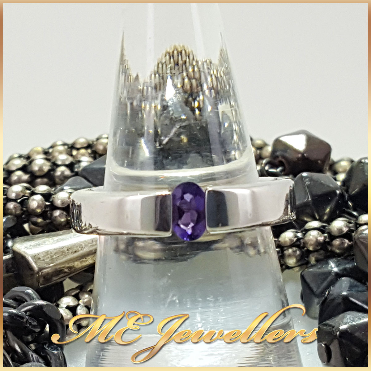 Sterling Silver Oval Purple Ring