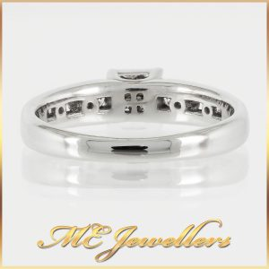 10k White Gold Princess Cut Diamond Cluster Engagement Ring