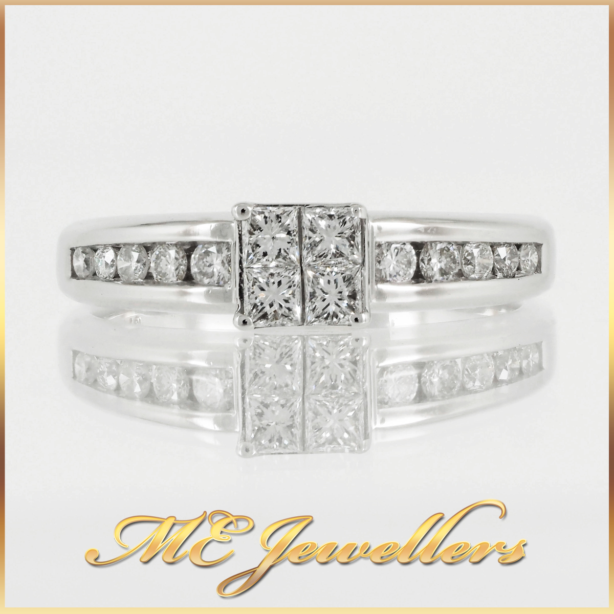 10k White Gold Princess Cut Diamond Cluster Engagement Ring