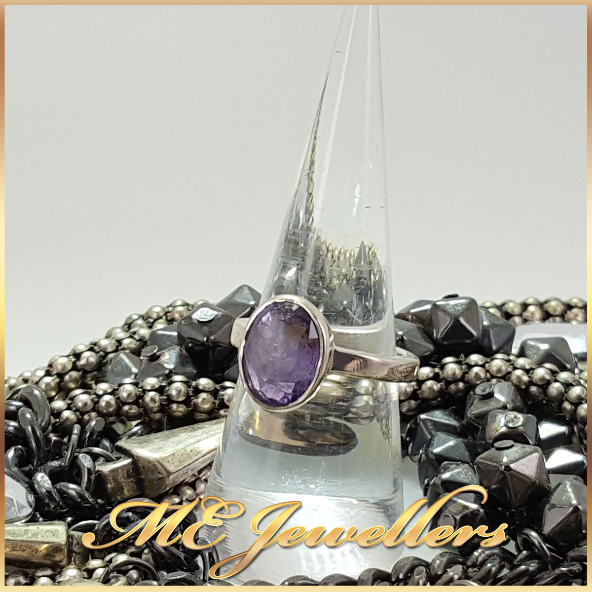 Oval Purple Spinel Ring