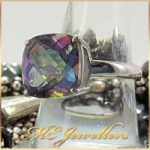 Mystic Topaz Cushion Cut Silver Sterling Ring