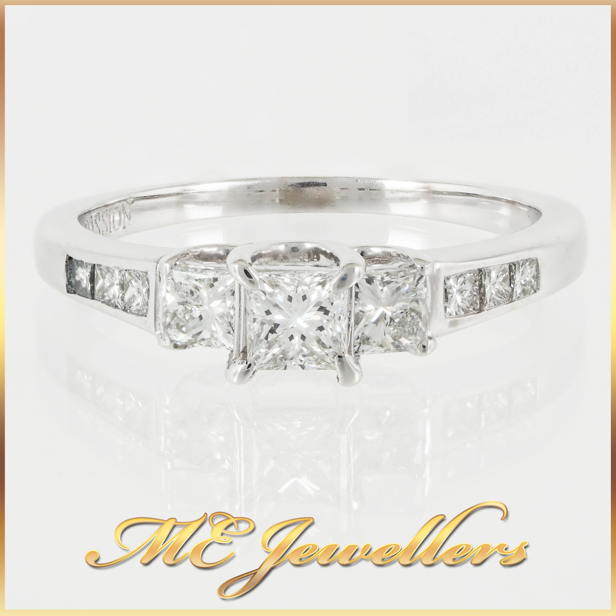 18k Princess Cut Three Stone Engagement Ring