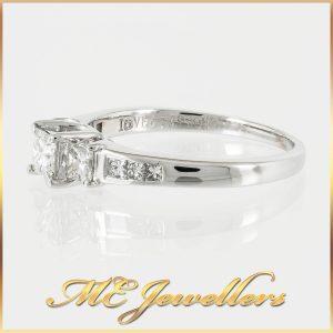 18k Princess Cut Three Stone Engagement Ring