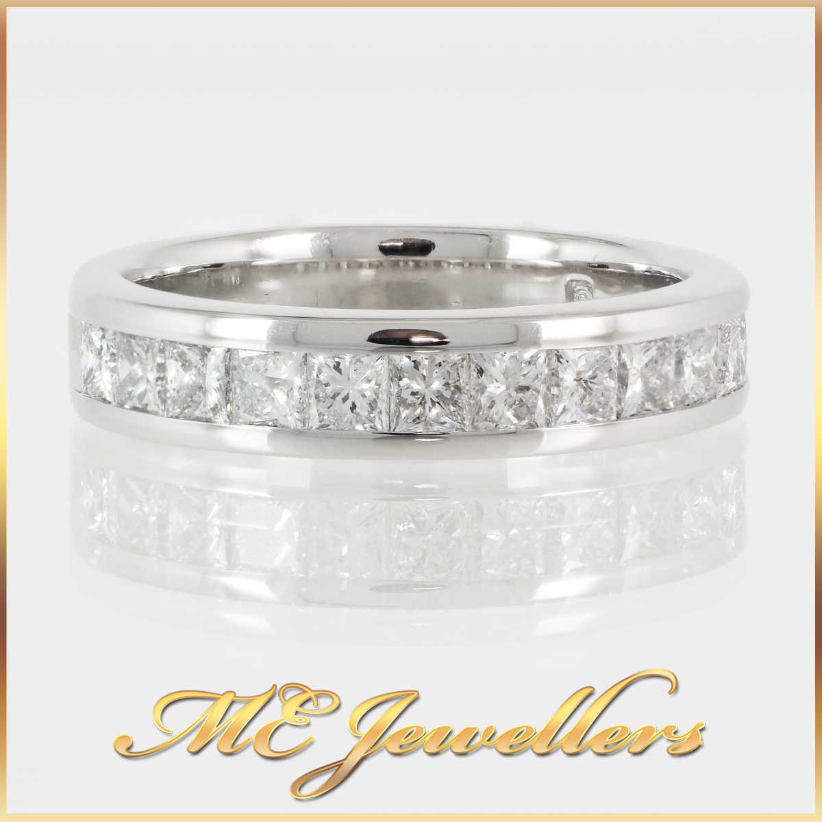 14k White Gold Channel Set Princess Cut Diamond Ring