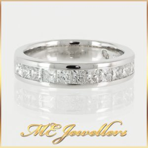 14k White Gold Channel Set Princess Cut Diamond Ring