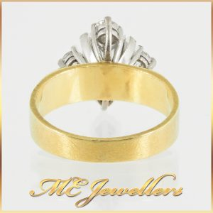 18k Yellow Gold Art Deco Cluster Diamond Ring