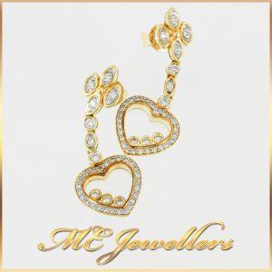 18k Yellow Gold Open Heart Swing Diamond Earrings