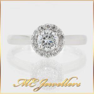 Brilliant Diamond Ring Halo Setting 18ct White Gold
