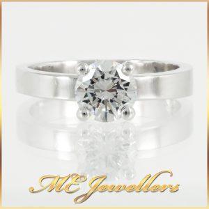 Four Claw Platinum Solitaire Diamond Engagement Ring