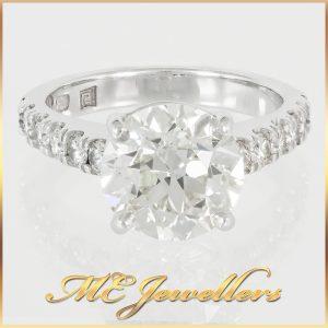 4.50ct TCW Diamond Engagement Ring 18K White Gold