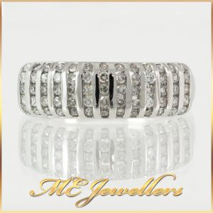 5 Row Channel Set Diamond Dress Ring