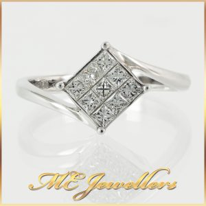 18K White Gold Square Cluster Diamond Ring